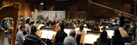 The orchestra prepares to record on <i>Muppets Most Wanted</i>