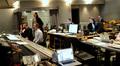 The control booth: orchestrator Penka Kouneva, composer Nathan Furst, orchestrator Jeremy Borum (standing), scoring mixer Mark Curry, music editor Matt Shelton, and ProTools recordist Vinnie Cirilli