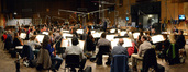 The view from the violin section as Tim Davies conducts on <i>Need for Speed</i>