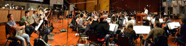 The orchestra records a cue for <i>Ride Along</i> with composer and conductor Christopher Lennertz