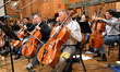 The cellos warm up