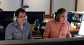 Composer Michael Giacchino and scoring mixer Joel Iwataki during the sessions for <i>This Is Where I Leave You</i>