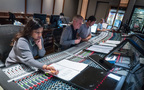 Scoring assistant Raashi Kulkarni, composer Blake Neely, scoring mixer Greg Hayes, and score recordist Tom Hardisty