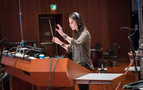 Composer/conductor Sherri Chung records with the orchestra