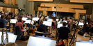 The orchestra records a cue under the baton of conductor and orchestrator Pete Anthony on <i>Fantastic Four</i>