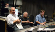Conductor Michael Kosarin and composer Alan Menken enjoy the playback of </i>Galavant</i> with ProTools recordist Adam Michalak (rear) and scoring mixer Frank Wolf