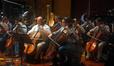 Principal cellist Steve Richards (center) flanked by Tim Landauer (l) and Giovanna Clayton (r)