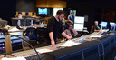 Composer Matthew Margeson goes over the score as scoring mixer Alan Meyerson listens to the mix with stage recordist Tim Lauber
