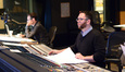 Composer Matthew Margeson at the console as additional orchestrator Jeremy Levy checks on a cue