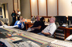 Orchestrator Kevin Kaska, composer John Debney, and scoring mixer Shawn Murphy watch playback and discuss the score