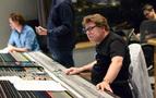 Scoring mixer Alan Meyerson checks levels for the next cue