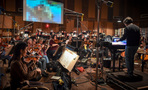 The Hollywood Studio Symphony records a cue with composer/conductor Thomas Newman