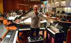 Pianist Randy Kerber shows off his keyboards