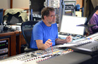 Scoring mixer Frank Wolf listens to the mix with playback