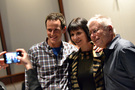 Scott Weinger (the speaking voice of Aladdin from <i>Aladdin</i>) and Ellen Greene (Audrey from <i>Little Shop of Horrors</i>) visited the session, and pose for a photo with composer/songwriter Alan Menken, who helped create those roles