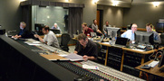 Composers Alan Menken and Chris Lennertz, scoring mixer Frank Wolf (front), Alan Menken's music assistant Aaron Kenny (rear), music editor Christopher Brooks, and ProTools recordist Adam Michalak