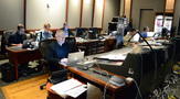 The music team on <i>Galavant: Season 2</i>: (rear) composer Chris Lennertz, Alan Menken's music assistant Aaron Kenny, music editor Christopher Brooks; (front) composer Alan Menken, scoring mixer Frank Wolf, and stage recordist Tom Hardisty