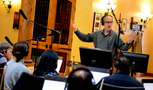 Composer and conductor Jeff Beal and the orchestra