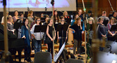 The choir records a cue from <i>Ice Age: Collision Course</i>