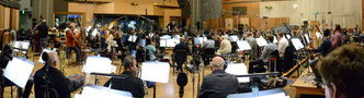 Composer/conductor John Debney records a cue for his score to <i>Ice Age: Collision Course</i> with an 83-piece orchestra