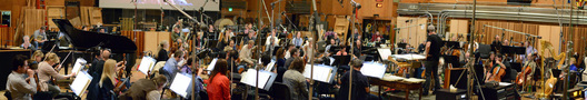 Composer/conductor John Debney records with an 83-piece orchestra
