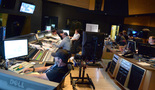 Inside the booth at the Newman Scoring Stage