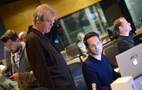 Conductor Nick Glennie-Smith talks with music editor Dan Pinder