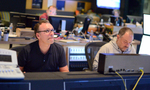 Composer Henry Jackman and scoring mixer Chris Fogel at the console