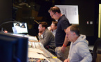 Lead orchestrator Stephen Coleman (far rear), additional composer Alex Belcher, composer Henry Jackman and scoring mixer Chris Fogel