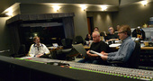 Supervising orchestrator Kevin Kaska, composer John Debney, and scoring mixer Simon Rhodes go over a cue