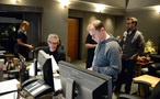 Music editor Chuck Martin and ProTools recordist Kevin Globerman check their paperwork
