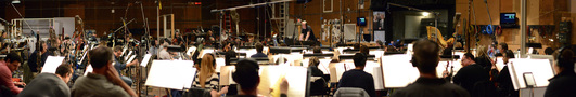 The 102-piece Hollywood Studio Symphony records a cue for <i>The Jungle Book</i> under the baton of composer John Debney