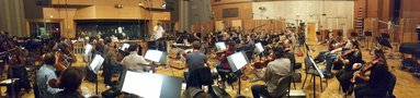 The Hollywood Studio Symphony strings perform on <em>The Magnificent Seven</em>