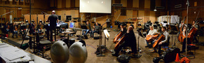 The orchestra records a cue from composer/conductor Trevor Morris' score for <i>Of Kings and Prophets</i>