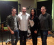 Supervising music editor Todd Bozung, composer Christopher Lennertz, percussionist Sheila E, and ProTools recordist Kevin Globerman
