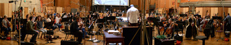 Composer and conductor Chris Lennertz records his score for <i>Ride Along 2</i> with the Hollywood Studio Symphony