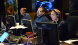 Live score consultant Mae Crosby, orchestrator Jeff Kryka, music editor Steve Davis, and ProTools recordist Vinni Cirilli