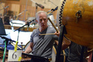 Percussionist Michael Englander performs on a taiko drum