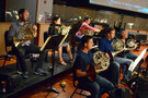 The French horn section: Allen Fogle, Jenny Kim, Dylan Hart, Dan Kelley, Steve Becknell, and Dave Everson