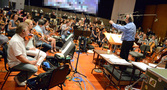 Conductor/orchestrator Nicholas Dodd with the Hollywood Studio Symphony