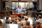 Conductor/orchestrator Nicholas Dodd records with the orchestra