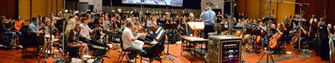 The orchestra records a cue with conductor/orchestrator Nicholas Dodd