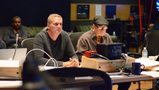 Composer John Ottman listens with  supervising orchestrator Rick Giovinazzo as his score for <i>X-Men: Apocalypse</i> is recorded