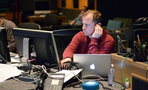 ProTools recordist Kevin Globerman checks the levels
