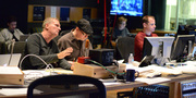 Composer (and film editor) John Ottman gives feedback on a cue with supervising orchestrator Rick Giovinazzo and ProTools recordist Kevin Globerman