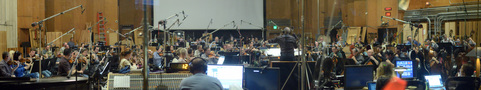 Conductor Jeffrey Schindler and the orchestra record a cue from composer John Ottman's score to <i>X-Men: Apocalypse</i>