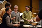 Directors Byron Howard and Rich Moore with composer Michael Giacchino and percussionist Alex Acu�a
