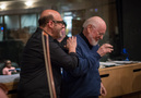 Composer Randy Kerber shares a lighthearted moment with his guest, John Williams