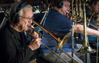 Trombonist Bill Booth performs