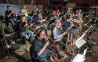 The trumpets and low brass record a cue for <em>The Dark Tower</em>